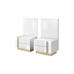 Nočné stolíky s osvetlením Arco - biely lesk/dub grandson