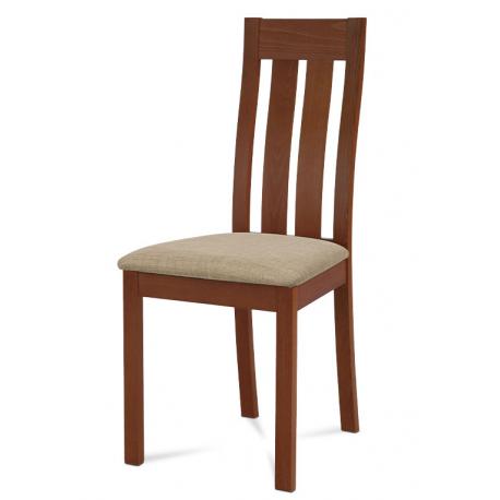 Masívna jedálenská stolička BC-2602 TR3 (čerešňa/béžový poťah)