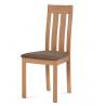 Masívna jedálenská stolička BC-2602 BUK3 (prírodný buk/hnedý poťah)