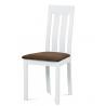 Masívna jedálenská stolička BC-2602 WT (biely buk/hnedý poťah)
