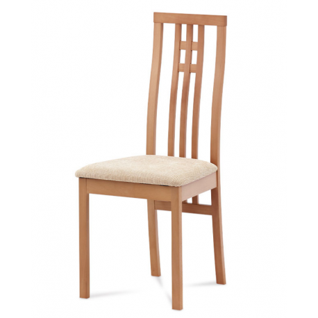 Jedálenská stolička z masívu BC-2482 - buk/béžový poťah (BUK3)