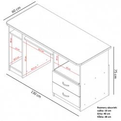 PC stolík MAX so zásuvkami rozmery
