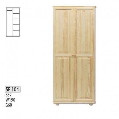 Dvojdverová drevená skriňa s policami SF104