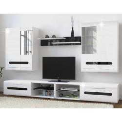 Bielo - čierna obývacia stena
