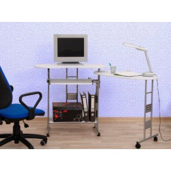 Biely PC stôl s úložným priestorom