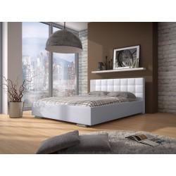 Biela a čierna manželská posteľ s úložným priestorom