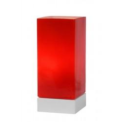 Červená lampa s bielym podstavcom